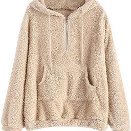 ZAFUL Women's Half Zip Kangaroo Pocket Fluffy Hoodie Long Sleeve Sweatshirt Warm Pullover   Amazon (US)