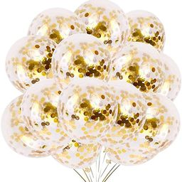 24 Pieces Gold Confetti Balloons   PREFILLED 12 Inch Latex Party Balloons with Gold Confetti for ...   Amazon (US)