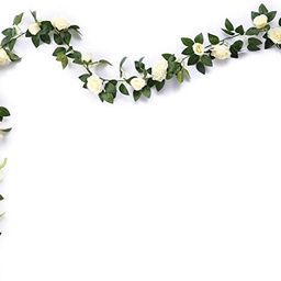 MEHELANY Artificial Rose Vine Flowers with Green Leaves 7.5ft Fake Silk Rose Hanging Vine Flowers...   Amazon (US)