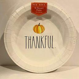 "Rae Dunn THANKFUL Thanksgiving Pumpkin Coated Desert Plates - 8"" 16 Plates   Amazon (US)"