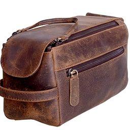 KOMALC Genuine Buffalo Leather Unisex Toiletry Bag Travel Dopp Kit (Distressed Tan)   Amazon (US)