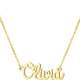 Awegift Personalized Name Necklace 18K Gold Plated New Mom Bridesmaid Gift Jewelry for Women | Amazon (US)