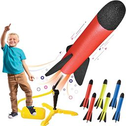 Toy Rocket Launcher for kids – Shoots Up to 100 Feet – 8 Colorful Foam Rockets and Sturdy Lau... | Amazon (US)