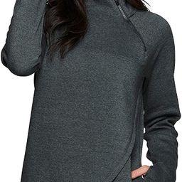RBX Activewear Women's Fleece Pullover Sweatshirt with Zip Mock Neck, Pockets and Thumb Holes   Amazon (US)