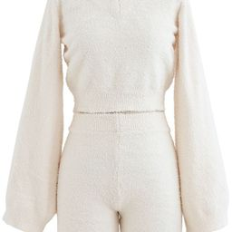 Fluffy Knit V-Neck Crop Top and Shorts Set in Ivory   Chicwish
