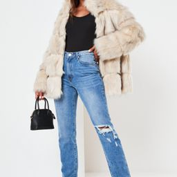 Cream Pelted Faux Fur High Collar Coat   Missguided (US & CA)