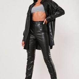 Black Co Ord Faux Leather Split Hem Pants   Missguided (US & CA)