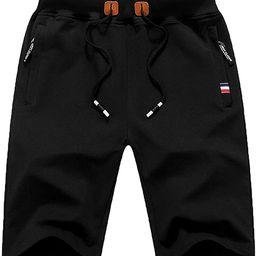 QPNGRP Mens Shorts Casual Drawstring Zipper Pockets Elastic Waist   Amazon (US)