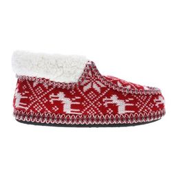 Apres by Lamo Red & White Fair Isle Wool-Lined Josie Knit Moccasin Boot - Women   Zulily