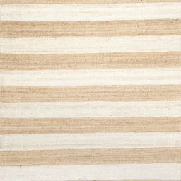 """Off White Jute And Denim Even Stripes 7' 6"""" x 9' 6"""" Area Rug   Rugs USA"""