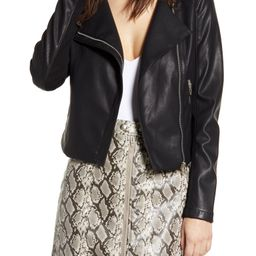 Record Breaker Collarless Faux Leather Moto Jacket | Nordstrom