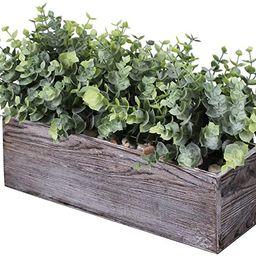 Faux Eucalyptus Plants in Rustic Rectangular Wood Planter Box Artificial Eucalyptus Greenery Arra...   Amazon (US)