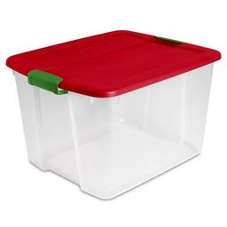 Sterilite 66qt Latching Utility Storage Tub and Totes Red Lid and Green Latch | Target