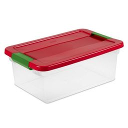 Sterilite 15qt Latching Clear Storage Box Red Lid and Green Latch | Target