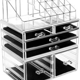 HBlife Makeup Organizer 3 Pieces Acrylic Cosmetic Storage Drawers and Jewelry Display Box, Clear | Amazon (US)