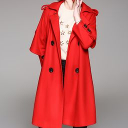 Zeraco Women's Trench Coats Red - Red Hooded Trench Coat - Women   Zulily