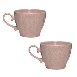 Amici Home Primitive Travertine 18 oz. Pink Ceramic Coffee Mug (Set of 2) | The Home Depot