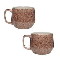 Amici Home Primitive Granite 22 oz. Earth Tone Ceramic Coffee Mug (Set of 2), Brown | The Home Depot