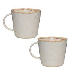 Amici Home Primitive Moonstone 18 oz. Beige Ceramic Coffee Mug (Set of 2) | The Home Depot