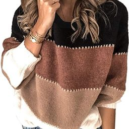 Angashion Women's Sweaters Casual Long Sleeve Crewneck Color Block Patchwork Pullover Knit Sweate... | Amazon (US)
