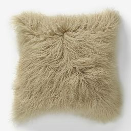 "Mongolian Lamb Pillow Cover, 16""""x16"""", Pebble, Set of 2   West Elm (US)"
