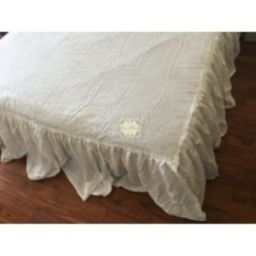 Shabby Washed Pure Flax Linen Bed Skirt, Dust Ruffle, Linen Coverlet White Twin Full Queen King Cust   Etsy (US)