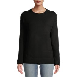 Time and Tru Women's Ribbed Sleeve Pullover Sweater | Walmart (US)