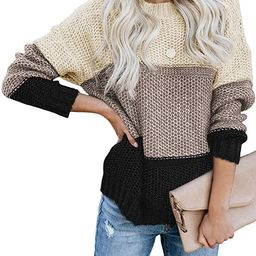 Lovezesent Womens Color Block Long Sleeve Ribbed Knit Oversized Pullover Sweaters | Amazon (US)
