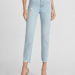 Super High Waisted Button Fly Ripped Raw Hem Slim Jeans   Express