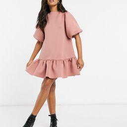 ASOS DESIGN mini scuba puff sleeve dress with frill hem in rose   ASOS (Global)