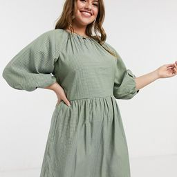Missguided Plus smock dress with puff sleeve in green check   ASOS (Global)