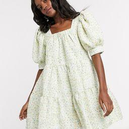 Sister Jane mini smock dress with puff sleeves in pastel tweed   ASOS (Global)