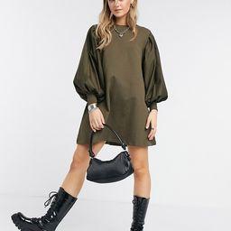 ASOS DESIGN mini sweat dress with puff sleeves in khaki   ASOS (Global)