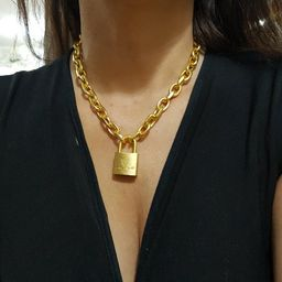 GOLD Chain chunky Link Necklace with  padLock pendant | Etsy (US)