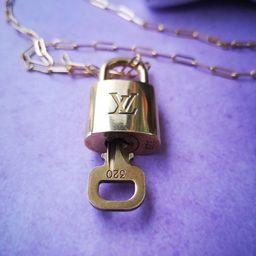 Gold Locket Pendant Necklace Lock Key Charm Necklace Authentic Refurbished Designer Statement Chu... | Etsy (US)