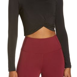Model Twist Hem Crop Long Sleeve T-Shirt | Nordstrom