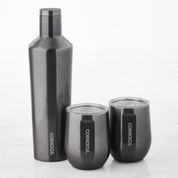 Corkcicle Insulated 25-Oz. Beverage Canteen & Stemless Wine Glass Set   Williams-Sonoma