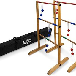 Ladder Toss Double Wooden Ladder Ball Game with Finished Wood and Durable Carrying Case   Amazon (US)