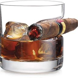 Godinger Cigar Whiskey Glass - Old Fashioned Whiskey Glass With Indented Cigar Rest | Amazon (US)