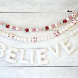 Christmas Garland - Believe Banner - Holiday Felt Ball Garland, Christmas Decor, Holiday Banner, ... | Etsy (US)