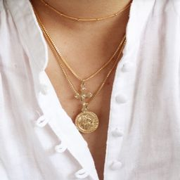 Gold Coin Necklace  Saint Christopher Necklace  14K Gold | Etsy | Etsy (US)