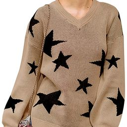 ECOWISH Women Knit Sweaters Long Sleeves V Neck Pullover Loose Fit Fashion Stars Sweater   Amazon (US)