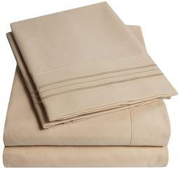 1800 Thread Count 4 Piece Deep Pocket Bedroom Bed Sheet Set King - Taupe | Walmart (US)