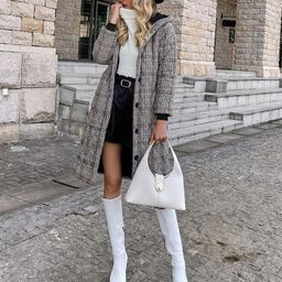 Button Front Plaid Hooded Overcoat   SHEIN