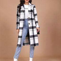 SHEIN Notched Collar Plaid Coat   SHEIN