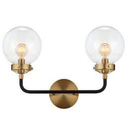 JONATHAN Y Caleb 18 in. 2-Light Black/Brass Wall Sconce-JYL9010A - The Home Depot | The Home Depot