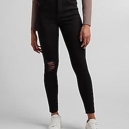 High Waisted 4-Way Hyper Stretch Black Ripped Skinny Jeans   Express