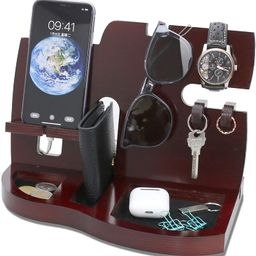 Red Wooden Phone Docking Station with Key Holder, Wallet and Watch Organizer Men's Gift Husband W...   Amazon (US)