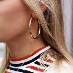Doubnine Tube Hoop Earrings Gold Lightweight Large Earrings Women Fashion Jewelry Earrings | Amazon (US)