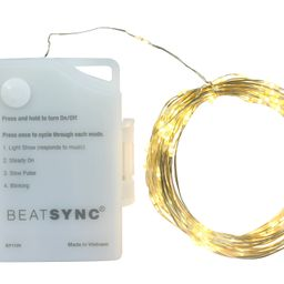 BeatSync 4 Function Christmas LED String Lights, 16'3'', Copper Wire, Warm White Color, 100 Count | Walmart (US)